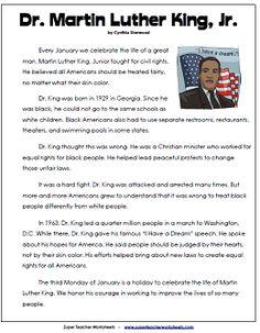 Martin Luther King Jr. Reading Comprehension Passage for kids