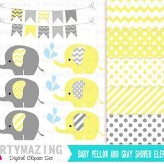 Yellow Elephant Digital Clipart set , Baby Yellow and Gray - Stripped, polka and chevron D531