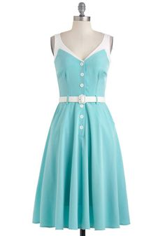Sense of Tasteful Dress by Bettie Page - Blue, White, Solid, Buttons, Belted, Party, A-line, Spring, Sleeveless, Pockets, Vintage Inspired, 50s, Fit & Flare, V Neck, Summer, Pinup, Variation, Top Rated