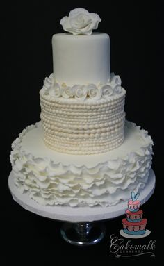 Dummy Cake For Bridal Show Fondant Ruffles Pearls And Roses on Cake Central