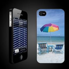 """Beach Theme iPhone Case Designs """"Chairs on the Beach"""" - iPhone Hard Case - BLACK Protective iPhone 4/iPhone 4S Case by VictoryStore, http://www.amazon.com/dp/B007IV0MB6/ref=cm_sw_r_pi_dp_7FXcsb14FX88S"""
