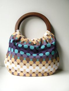 Handbag Purse with Wood Handle  Plum Ombre Dot by allisajacobs