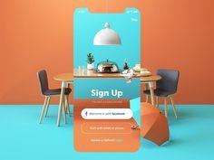 restaurant_app_sign_up_screen_design_tubik.png by tubik Layout Design, Design De Configuration, Interaktives Design, Design Food, Media Design, Logo Design, Design Trends, Graphic Design, Design Concepts