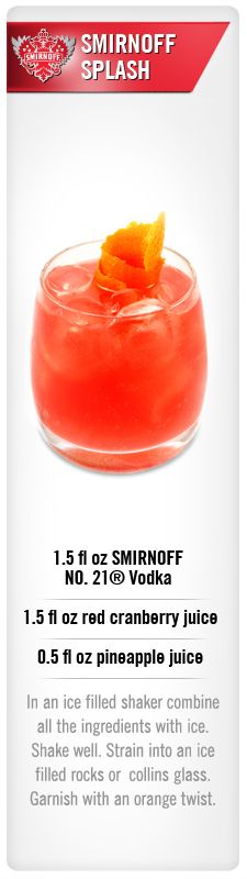 Smirnoff Splash drink recipe with Smirnoff No. 21 vodka, cranberry juice and pineapple juice #Smirnoff #drink #recipe