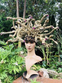 MADE TO ORDER Medusa Headdress | Etsy Medusa Headpiece, Headdress, Rachel Thomas, Medusa Costume, Shoulder Cape, Forest Elf, Working On It, Halloween Make Up, More Photos