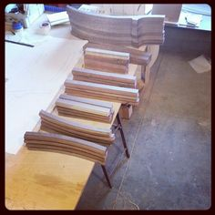 Walnut chair parts by artisan Nate Hardenbrook