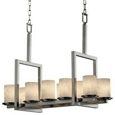 Contemporary 10-Light Nickel and Smoked Resin Island Chandelier - contemporary - chandeliers - Lamps Plus