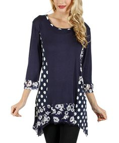 Another great find on #zulily! Blue & White Floral Sidetail Tunic #zulilyfinds