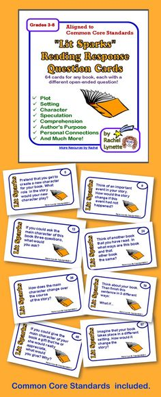 64 reading response questions cards that will really get your kids thinking. great for writing prompts or book discussions. use with any book, Teaching Reading, Guided Reading, Teaching Ideas, Learning, Education And Literacy, Third Grade Reading, Common Core Reading, Reading Comprehension, Reading Strategies