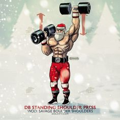#SavageSanta #HoHoHo I mainly perform standing barbell shoulder presses but when I use dumbbells I stand the F up and go full range . Everybody wants abs but will use every machine and sit on benches . Do as many exercises you can standing up and watch your abs pop . Standing up is a vertical plank go figure . WOD: Savage Boulder Shoulders 2015-12-15 . A. 2 DB Alternating Standing Shoulder Press: 4 x 10 Stay Savage my friends . _________________________ #deezify #powerlifting #fitness…