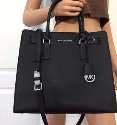 NWT Michael Kors Large Tote Saffiano Leather Bag Purse Handbag Black Silver #MichaelKors #ShoulderBag