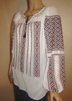 Hand stitched Romanian peasant blouse, ethnic top size L - XL / the Champion pattern - black and red Folk Costume, Costumes, Peasant Blouse, Hand Stitching, Cross Stitch Patterns, Ethnic, Champion, Abs, Sweaters
