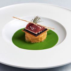 Pepper tuna with creamy polenta, balsamico jelly, bronze dill gazpacho and sesame wafer stick by chef Holger Bodendorf of restaurant Bodendorf's from Germany #TheArtOfPlating