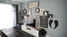 Wall Gallery over Tv, Warm Pewter Grey walls by Dulux. Not quite finished. Wall Art Ideas