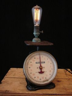 upcycled rusty vintage scale lamp