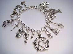 Supernatural Inspired Charm Bracelet Dean Sam Devils Trap Protection   IndieMeadow - Jewelry on ArtFire