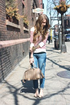 Striped tee and boyfriend jeans