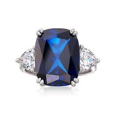 Ross-Simons - Cushion-Cut Simulated Sapphire and 1.75 ct. t.w. CZ Ring in Sterling Silver - #827955