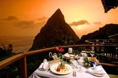 The perfect dinner overlooking  the Piton Mountains at Ladera Resort's Dasheene #sunsetviews #romanticgetaway