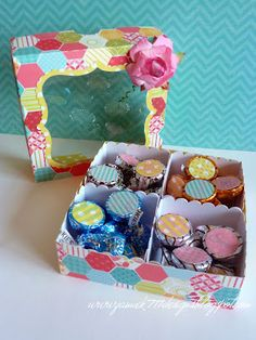Kisses Sampler Box made with Jaded Blossom Stamps, Echo Park and Lori Whitlock File