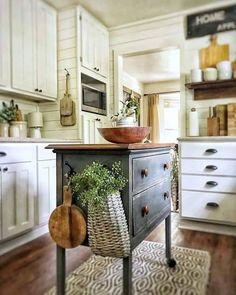 Home Decor Kitchen .Home Decor Kitchen Cottage Kitchens, Farmhouse Kitchen Decor, Kitchen Redo, Country Kitchen, New Kitchen, Home Kitchens, Kitchen Remodel, Kitchen Cabinets, Dresser Kitchen Island
