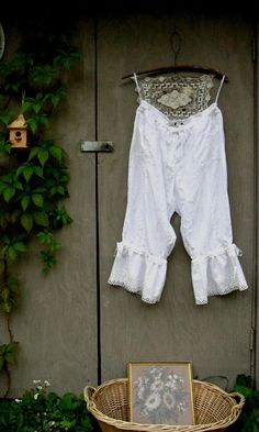 20W white plus size oversized eco upcycled Linen Bloomers knickers britches pantaloons French rustic  prairie ranch cowgirl Shabby boho. $65.50, via Etsy.