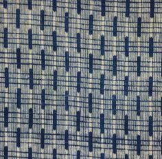 A Length of Delicately Patterned Geometric Katazome: Indigo  srithreads.com