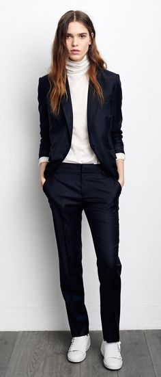 office+style+addiction+/+black+suit+++high+neck+top+++sneakers