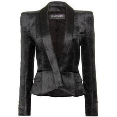 Balmain Velvet Blazer ($1,845) ❤ liked on Polyvore featuring outerwear, jackets, blazers, coats, tops, polka dot jacket, blazer jacket, balmain jacket, metallic blazer and white jacket