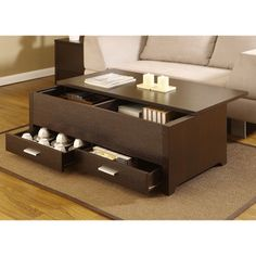 @Overstock - Furniture of America Knox Dark Espresso Storage Box Coffee Table - Materials: Wood, veneer, MDFFinish: Dark espressoTwo (2) deep drawers and a sliding table top panel provide plenty of storage space  http://www.overstock.com/Home-Garden/Furniture-of-America-Knox-Dark-Espresso-Storage-Box-Coffee-Table/6237346/product.html?CID=214117 $212.92