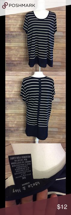 Striped flowy top with button detail Excellent condition with button detail on back! adele & may Tops Tees - Short Sleeve