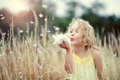 Little Girl in Meadow Yellow dress