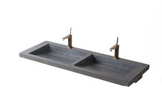 CAESAR – Double basin for minimalist style lovers with hidden drain, metal or concrete inlay, to be mounted on the basin counter.  Size: L.135cm W:50cm H:18cm