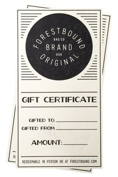 FORESTBOUND Gift Certificate - FORESTBOUND Logo designed by LAND BOYS