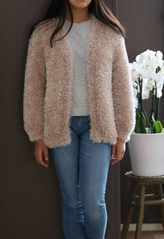Fluffy Knit Cardigan Chunky Loose Fit Creamy Knit Cardigan Chunky Knit Cardigan, Hand Knitting, Knitwear, Trending Outfits, Loose Fit, Fitness, Sweaters, Vintage, Etsy