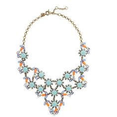 J.Crew Pastel and neon statement necklace ($165) ❤ liked on Polyvore featuring jewelry, necklaces, accessories, j.crew, colares, 14k necklace, cabochon necklace, pastel jewelry, neon necklace and statement bib necklace