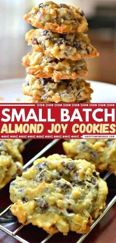 If you love Almond Joy, then get ready for one of the best desserts to make ahead! Enjoy the delectable blend of coconut, semisweet chocolate, and sliced almonds in these easy cookies that taste like the candy bar. Plus, this recipe gives you the perfect small batch! Easy Cookie Recipes, Cookie Desserts, Fun Desserts, Baking Recipes, Delicious Desserts, Dessert Recipes, Yummy Food, Cookie Bars, Scone Recipes