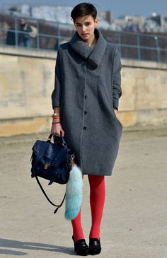 Yet another interesting coat w/ a PS1 satchel, loafer heels and red colour pop tights
