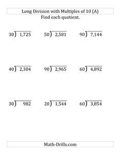 dividing various decimal places by a whole number decimals ...