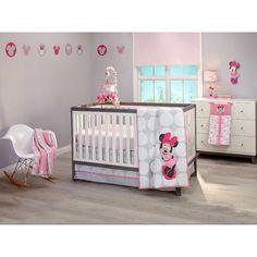 Disney Baby Minnie Mouse All About Bows 4 Piece Nursery Crib Bedding Set Pink Aqua. Baby Crib Bedding Sets, Nursery Crib, Crib Sets, Baby Bedroom, Baby Cribs, Girl Nursery, Nursery Decor, Mermaid Nursery, Pink Bedding