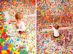 The Obliteration Room: interactive installation for children by Yayoi Kusama, Queensland Gallery of Modern Art (GoMA). Over the course of two weeks, kids were given thousands of colour dot stickers to transform a series of rooms painted completely in white - every room surface, piece of furniture and decoration was treated as a giant white canvas - into their own collaborative work of art.