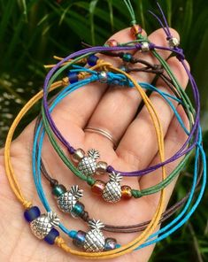 5 friendship bracelets, pineapple bracelets, anklets, bachelorette party, bridesmaids gift, best friends gift, set of 5, beach, graduation