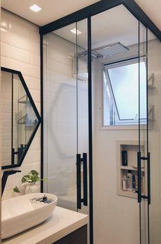 Banheiros pequenos decorados: 100 idéias, fotos e projetos - Baño - Bathroom Layout, Bathroom Interior Design, Small Bathroom, Bathroom Ideas, Bathroom Designs, White Bathroom, Bathroom Inspiration, House Design, Home Decor