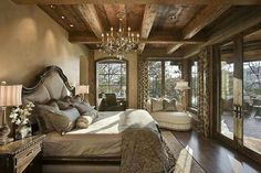 like the wood beams and ceiling mixed w chandelier