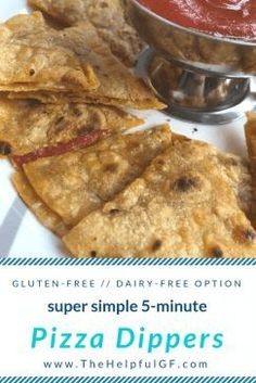 Looking for a quick, easy, and healthy gluten-free recipe that will satisfy your kids? Try this gluten-free Pizza Quesadilla recipe for an easy lunch idea that will make your kids happy.  5 ingredients. Ready in 5 minutes.  There's also dairy-free, vegetarian, and vegan modifications.  #glutenfree #glutenfreerecipe #dairyfree