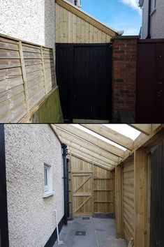 Timber framed lean to sheds in Dublin, with polycarbonate sheeted roof. Built to measure available space, closed in with strong lockable doors, with cladding finish on partition walls, with internal or external gutters. Shed Design, Roof Design, Patio Design, House Extension Design, Glass Extension, Timber Shed Ideas, Loft Conversion Design, Lean To Roof, Side Yard Landscaping