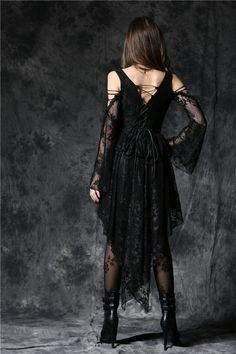Ghost Black Lace Gothic Fishtail Dress by Dark in Love