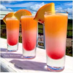 Take a shot of pure sunshine with our Peach Paradise Shots! Our Peach Paradise Shots are made with Alize Coco Peach, Viniq Peach, and Grenadine! Cocktails, Cocktail Shots, Party Drinks, Fun Drinks, Cocktail Recipes, Bartender Drinks, Alcoholic Drinks, Shot Recipes, Alcohol Drink Recipes