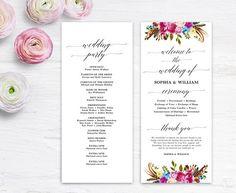 Printable Wedding Program Template Colorful Boho Floral