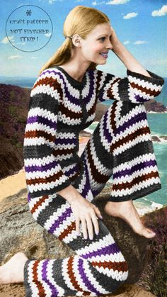 Ladies Striped Jumpsuit Vintage Crochet Craft Pattern   eBay